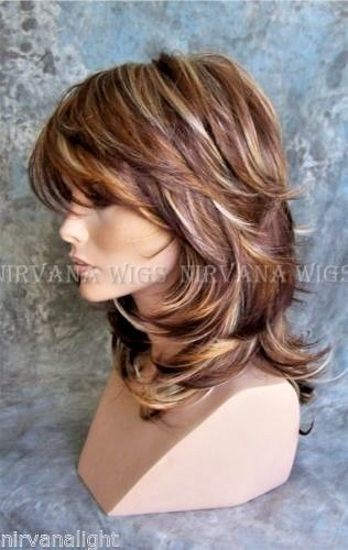 Nirvana Wig - 3 Tone Deep Auburn/Copper/Blonde Multi Layers Med Long  - Sarah