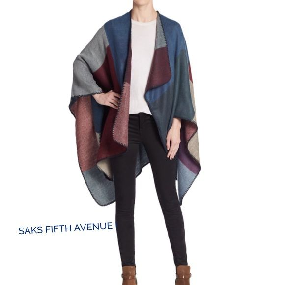 "SAKS FIFTH AVENUE SHAWL !   SAKS Colorblock Sawl ! Color "" Navy Mosaic "" ! Cozy shawl cast in cool colorblock pattern ! Open front ! Blanket stitch edges ! About 38 inches from shoulder to hem ! 100% acrylic ! Soft and lightweight ! A must have !  SAKS FIFTH AVENUE Jackets & Coats"
