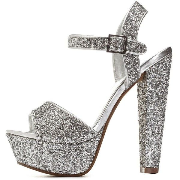 Charlotte Russe Silver Metallic Glitter Platform Chunky Heels by... ($39) ❤ liked on Polyvore featuring shoes, silver, charlotte russe, glitter shoes, chunky heel platform shoes, thick high heel shoes and disco platform shoes