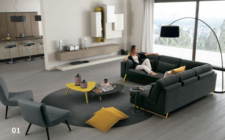 Yellow, Grey, Cream, Light, Living Room, Lounge, Couches.