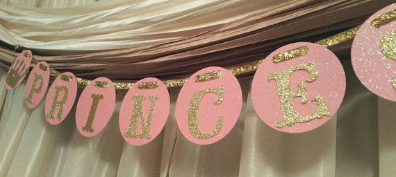 Royal Princess pink and gold crown tiara banner birthday party gender reveal baby shower wedding bachelor anniversary wall decoration Disney princess party cinderella Belle Snow White 1st first one birthday smash cake quinceanera sweet sixteen bachelorette bride fairy tale retirement graduation