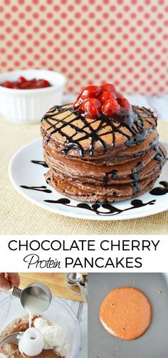 Best Protein Pancakes - 90 Calorie Chocolate Cherry Goodness | A Magical Mess