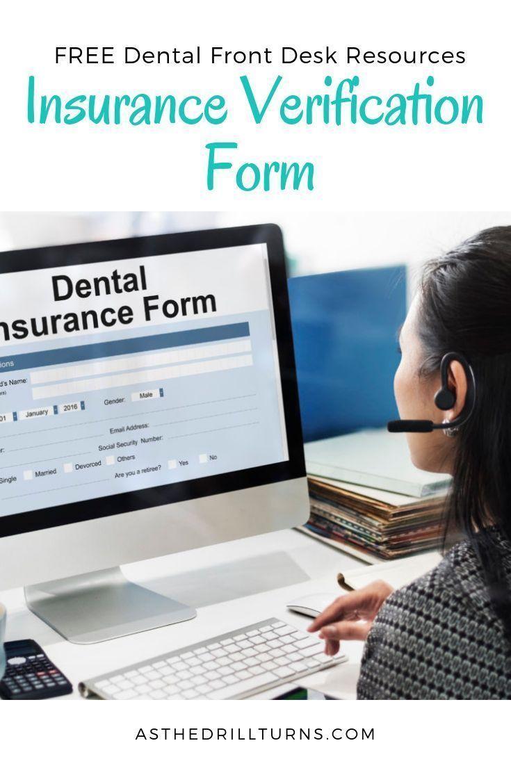 Free Dental Insurance Verification Form The Dental Front Office