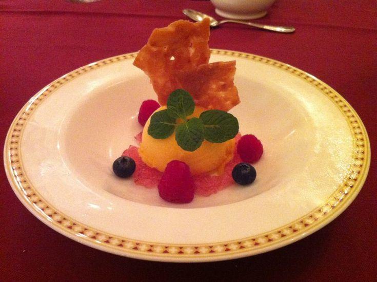 Mango sorbet with sherbet at Magellan's, Disneysea. Magellan's is one of the fanciest restaurants at TDR.