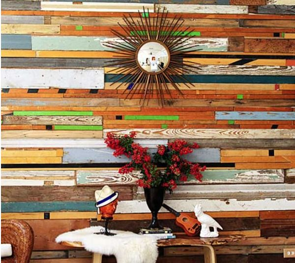 Timber wall with colour for hallway