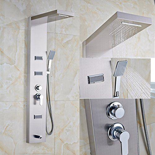 Rozine thermostatique support mural Panneau de douche Colonne de douche jets Bec de baignoire Douche à main: 2ans de garantie Fonction:…