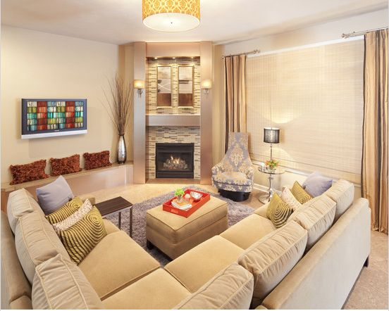 Corner fireplace sectional placement living room - Sofas en esquina ...