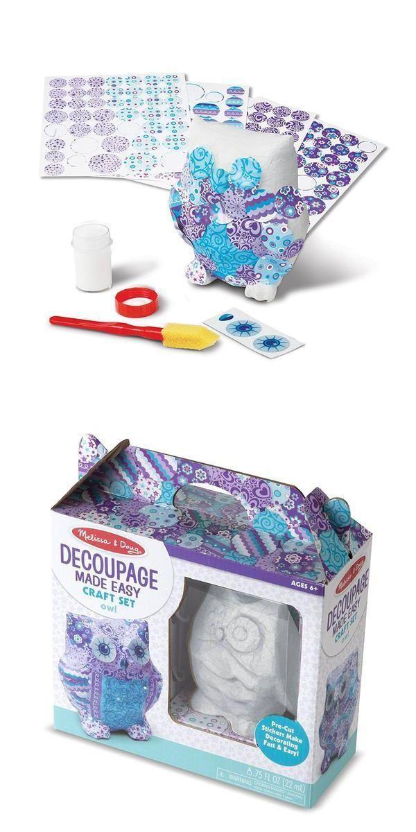 Melissa And Doug Decoupage Made Easy Owl Craft Set NEW Toys Educational