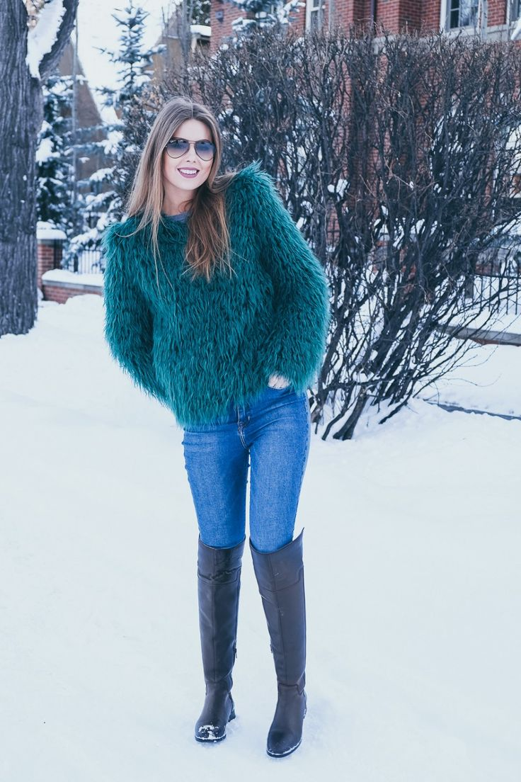 WINTER OUTFITS to keep you warm & stylish | WARDROBE DETECTIVES over the knee boots, faux fur coat, funky coat, shaggy coat, emerald faux fur, winter style, casual style