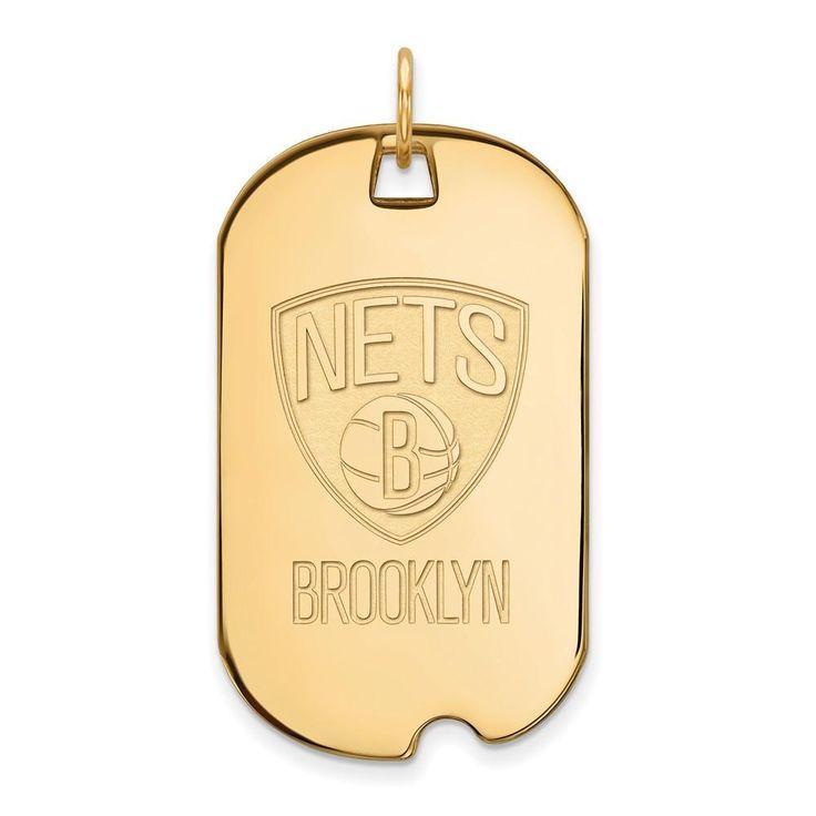 Sterling Silver w/GP NBA LogoArt Brooklyn Nets Large Dog Tag