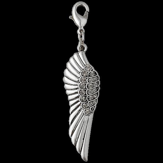 Charm, silver plated, grey von: Pilgrim #Schmuck #Charm #Flügel