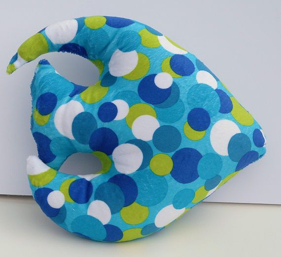 Angel fish pillow, made from a colorful minky fabric with blue, lime green and white dots, measures 12 by 13 inches. The pillow is completely child safe...no removable parts. Perfect addition for a nautical baby nursery too! Pictured with a 15 inch curvy turquoise minky dot starfish also in my shop.