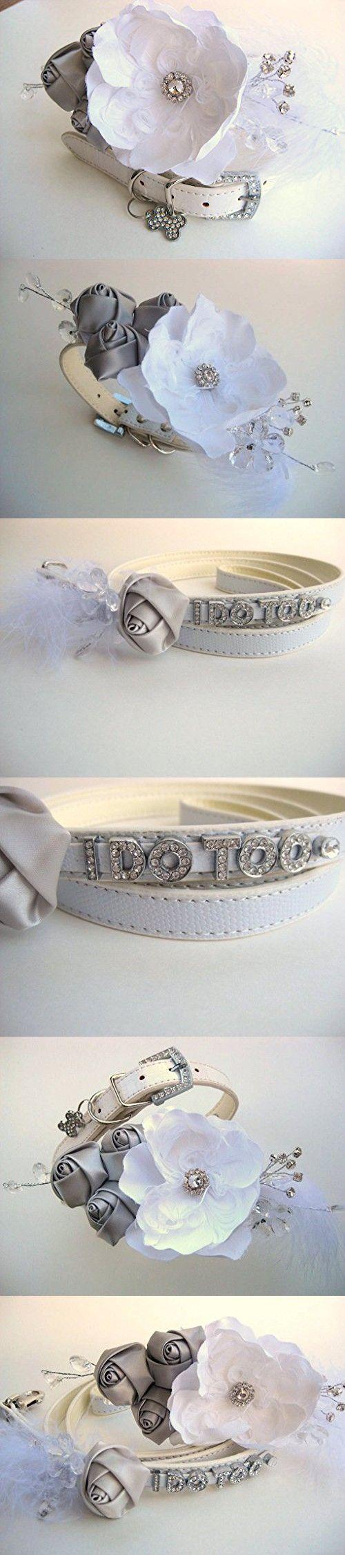 "Wedding Flower Dog Collar | Large Dog Collar and Matching Leash | Flower Dog Collar | White and Silver | Wedding Dog Collar | 15.5""-20"" neck"