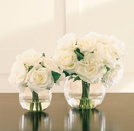 White rose low profile centerpiece--size and general arrangement but in bright pink