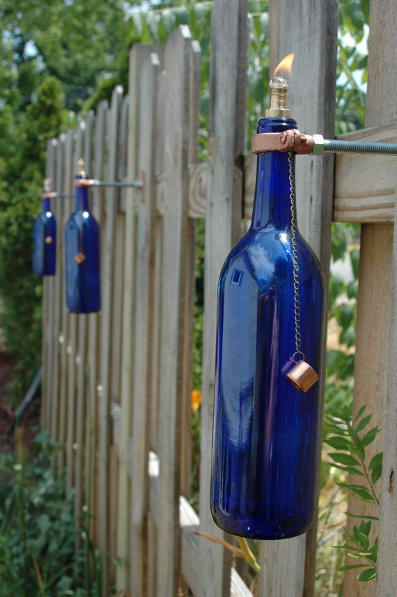 5 wine bottle tiki torches color choice of red cobalt for Outdoor decorating with wine bottles