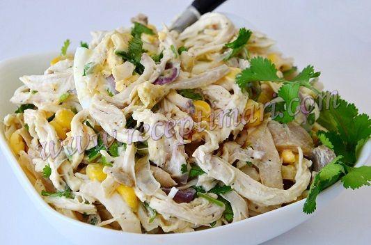 Салат яйца грудка кукуруза огурец
