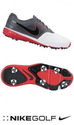 Chaussures de golf Nike Lunar command blanc/gris/rouge - Dernière paire T45 EN SOLDE !!