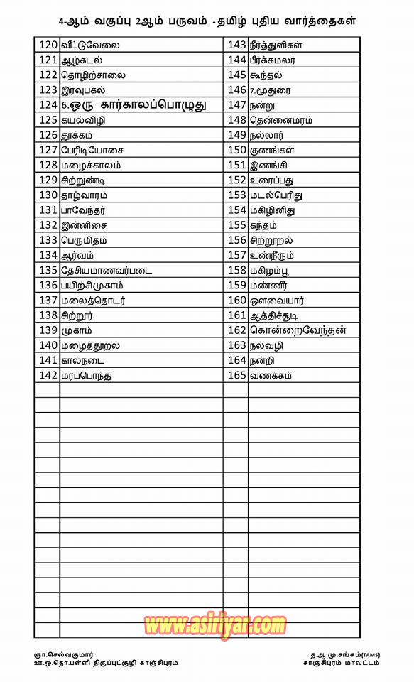 4th STD - 2nd TERM - NEW WORDS WITH TAMIL MEANINGS FOR