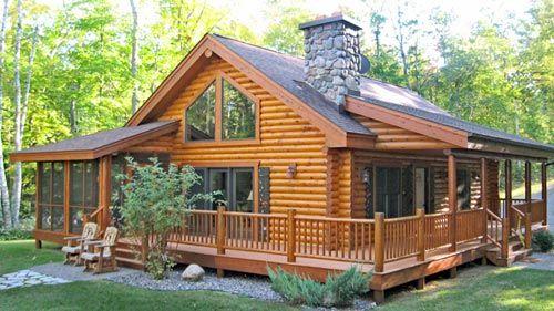 Nice smaller log home look/design ...