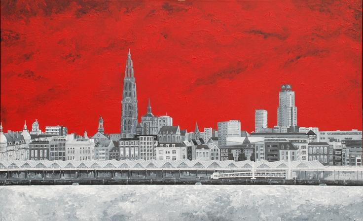 Skyline of Antwerp - acryl on canvas