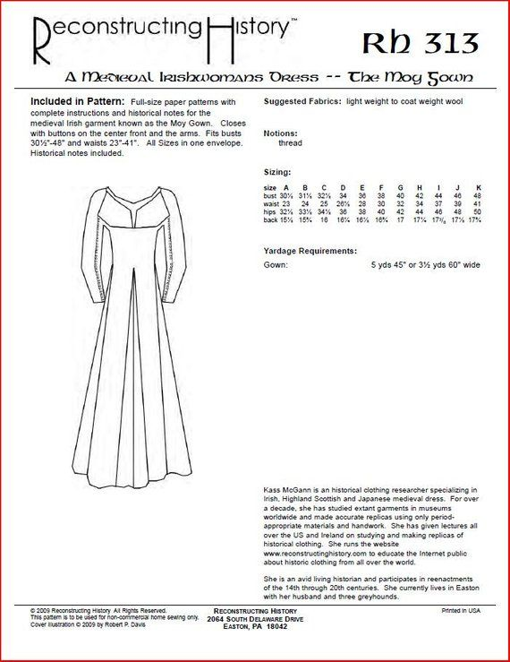 Rc313 Medieval Irish Moy Gown Sewing Pattern By Etsy Medieval