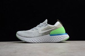 6fe472ee5995 Mens Womens Shoes Nike Epic React Flyknit Light Grey Green Blue AQ0067 008