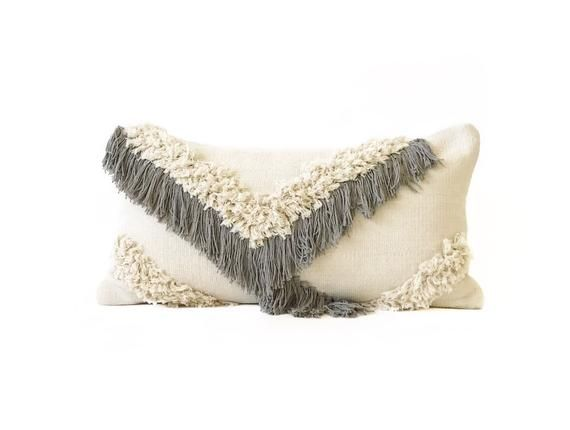 Details Dimensions 12 X 24 Approx 100 Cotton Colors Beige With Light Gray Fringe Desig Fringe Pillows Neutral Throw Pillows Lumbar Pillow Cover