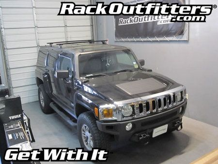 Hummer H3 Thule Rapid Podium BLACK AeroBlade Base Roof Rack