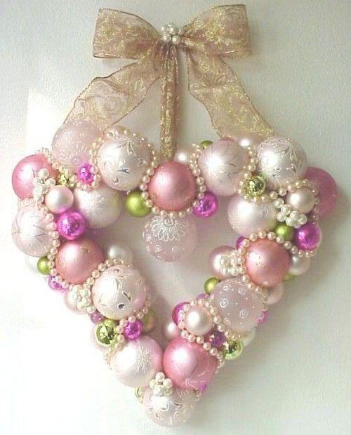 Happy anniversary wreath: Idea, Heart Wreaths, Diy Ornaments, Xmas Ornaments, Valentines Wreaths, Valentines Day, Christmas Ornaments, Heart Ornaments, Ornaments Wreaths