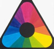 All these colors, including red and blue, were made from only three paints, magenta, yellow, and cyan.