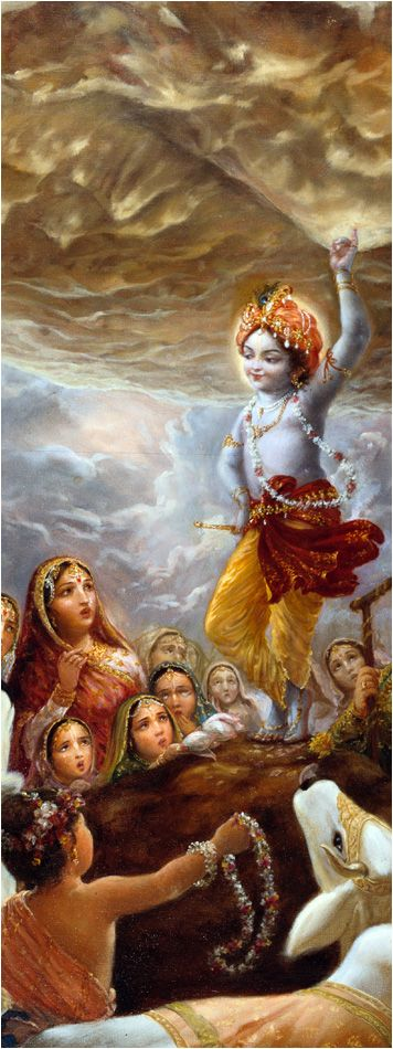 "Thinking in this way, Lord Kṛṣṇa immediately picked up Govardhana Hill with one hand, exactly as a child picks up a mushroom from the ground. Thus He exhibited His transcendental pastime of lifting Govardhana Hill. Lord Kṛṣṇa then began to address His devotees, ""My dear brothers, My dear father, My dear inhabitants of Vṛndāvana, you can now safely enter under the umbrella of Govardhana Hill, which I have just lifted. Do not be afraid of the hill and think that it will fall from My hand."