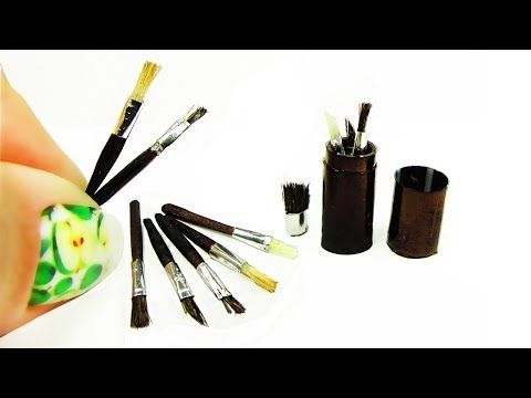 (31) How to make a miniature doll Makeup brush DIY Tutorial - YouTube