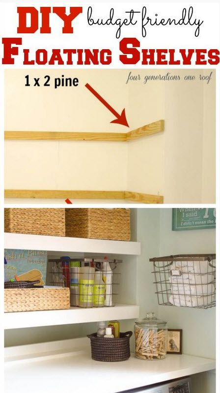 DIY Floating Shelves - project for the laundry room.