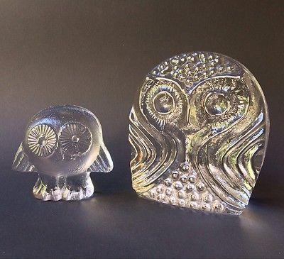 Instant Collection Vintage Glass Owls, Lisa Larson Royal Krona and Pilgrim Glass