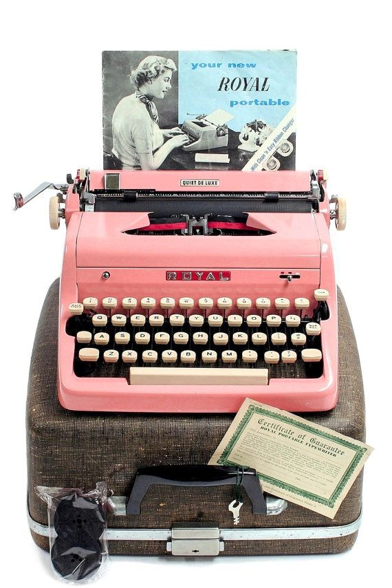 1957 Pink Royal Quiet DeLuxe Typewriter with Original Case and Manual / Vintage Metal Ribbon Spools / Extra Ribbon