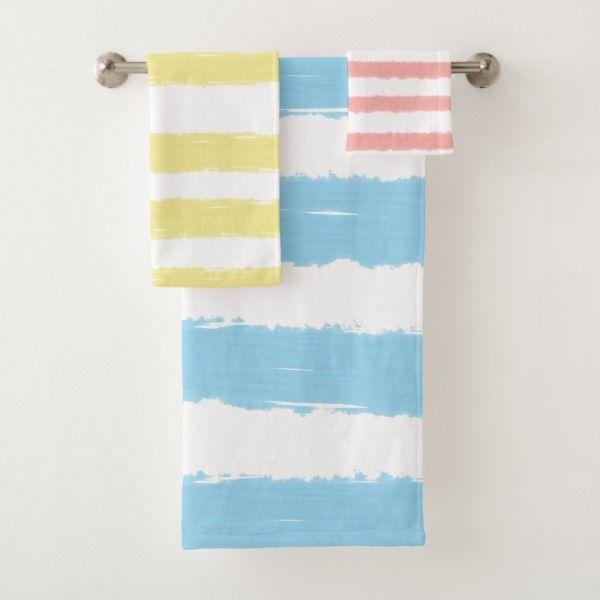 Pink Yellow Blue White Stripes Bath Towel Set Zazzle Com With