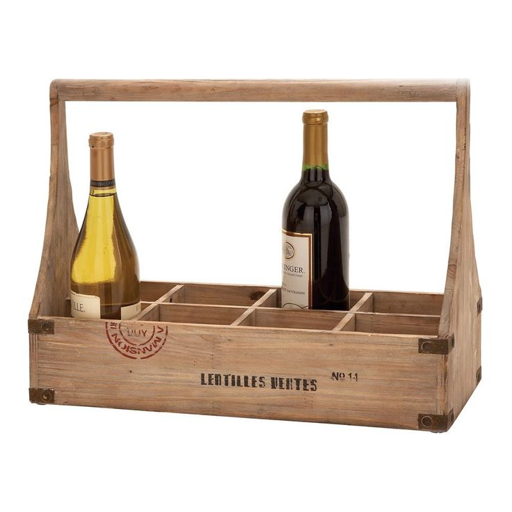 This fun and unique wine basket can hold eight wine bottles. This wine holder is made of treated wood.