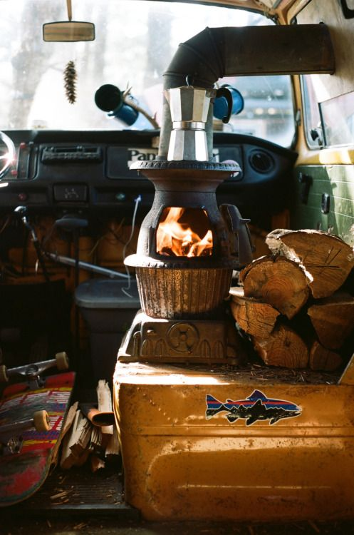 Wood burning stove in a camper? Ballsy.