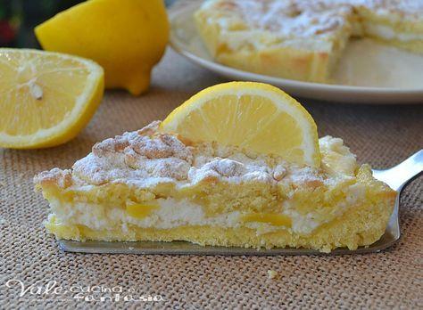 Sbriciolata con crema di ricotta e limone, cremosa golosa e profumata, la crema di ricotta si scioglie in bocca, fresca leggera e facilissima da fare