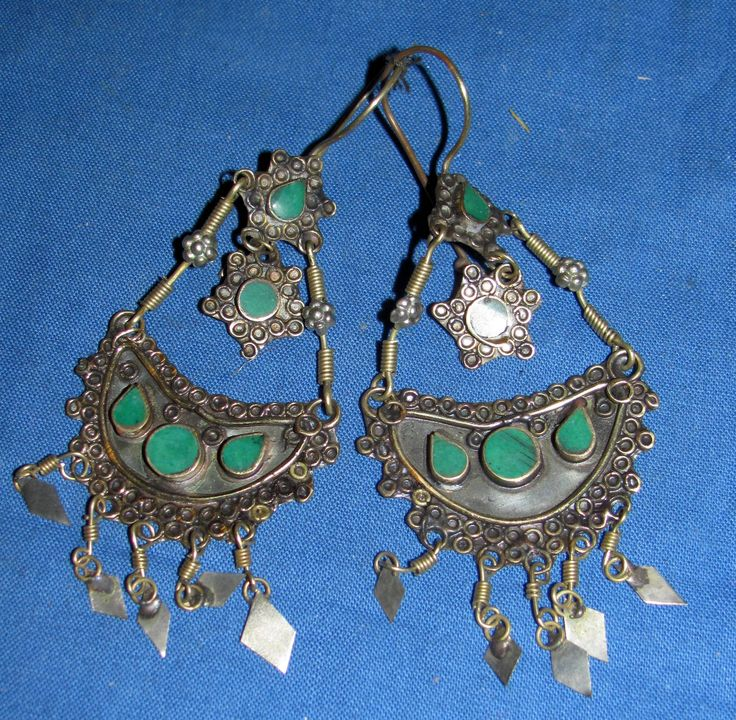 "Earrings Crescent Malachite Lapis Turquoise Dangles Afghan Kuchi Tribal Alpaca Silver 1 1/4"""