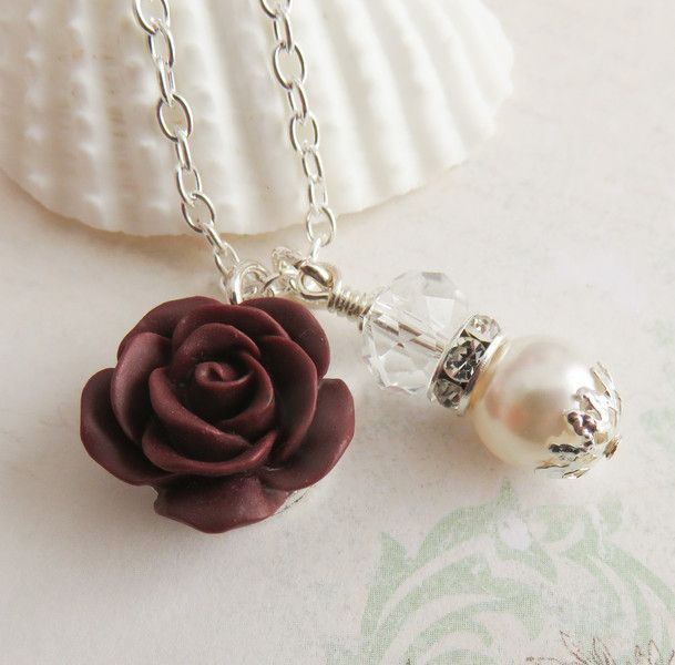 Burgundy flower necklace. #weddings #burgundy #flowers #bridesmaid #flowergirl #handmade #bride #bridal #wedding