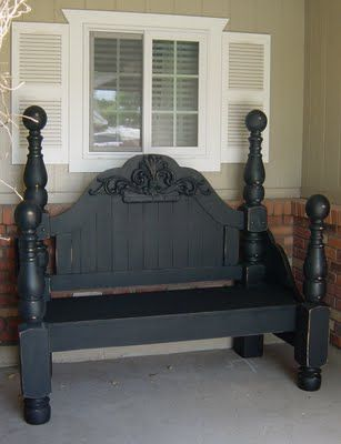 bench from headboard using wooden appliques to hide ugly shell design carved onto headboard