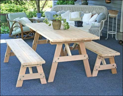 Picnic Table Detached Benches Plans Google Search