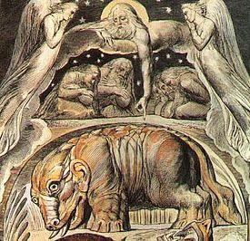 """Behemoth (William Blake). Nach Hiob 40,19 wurde Behemoth– wie auch sein Gegenstück Leviathan– """"als erstes der Werke Gottes"""" geschaffen. Beeinflusst wurde die Vorstellung eines flusspferdartigen Ungeheuers möglicherweise durch den altägyptischen Gott Seth, als dessen Attribut das Nilpferd galt. Behemoth und Leviatan können gemäß Hiob als Attribute Gottes gesehen werden und symbolisieren dessen wilde Naturseite."""