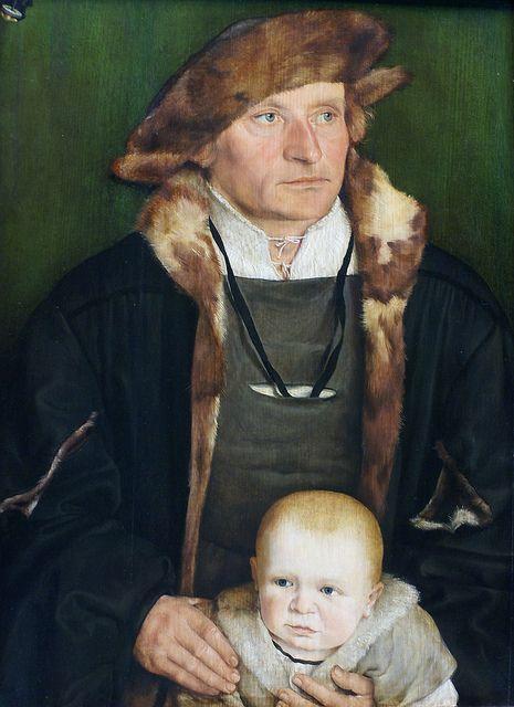 Barthel Beham, Portrait of Hans Urmiller with his son 1525: