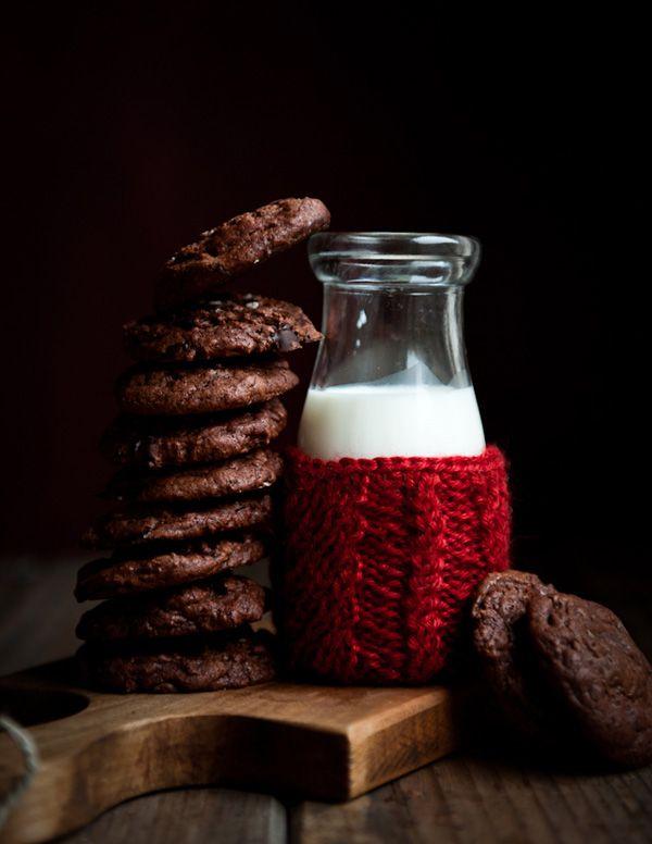 Salted Dark Chocolate Espresso Cookies