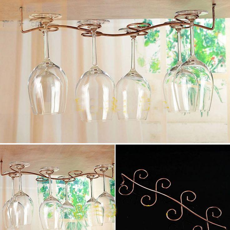 vintage oak hanging wine glass rack