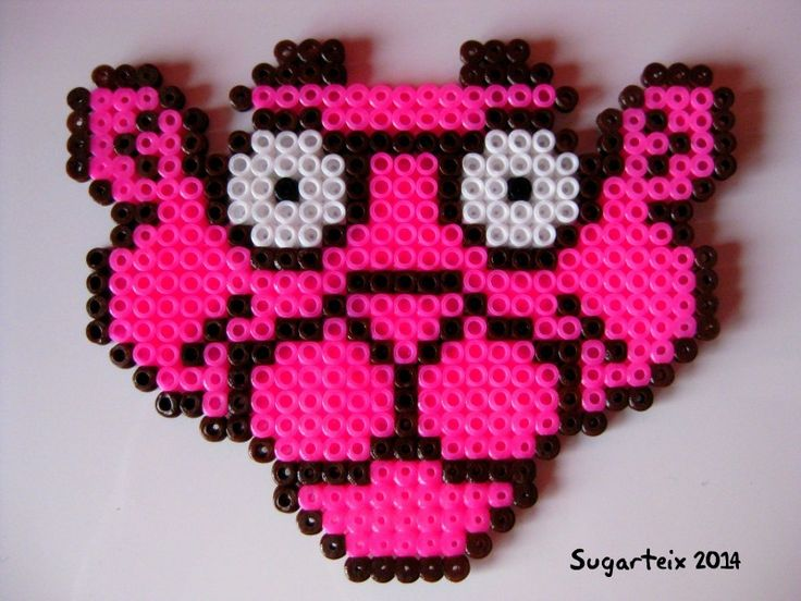 Cara de la pantera rosa en hama midi (posavasos). Si te gusta puedes adquirirlo en nuestra tienda on-line: http://www.mistertrufa.net/sugarshop/ Ver más en: http://mistertrufa.net/librecreacion/groups/hama-beads/