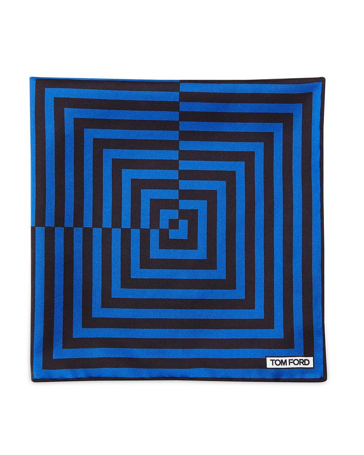 Linear Pattern Pocket Square, Brown/Blue