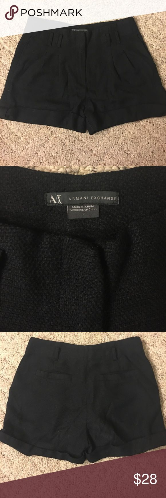"Armani Exchange Shorts EUC! Cuffed at hem. Side pockets, two pleats on either side and two back pockets. Button and zips in front. Length from waist to bottom is approximately 13"" waist measurement 15"" hip measurement approximately 18"". Fabric content is Rayon and polyester blend. Has a nice weave in fabric and is super soft! ❤️❤️ Armani Exchange Shorts"